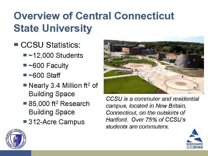 Overview of Central Connecticut State University ▀ CCSU Statistics: ▀ ▀ ▀ ~12, 000