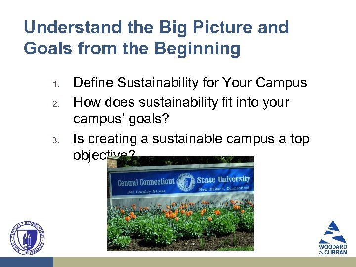 Understand the Big Picture and Goals from the Beginning 1. 2. 3. Define Sustainability