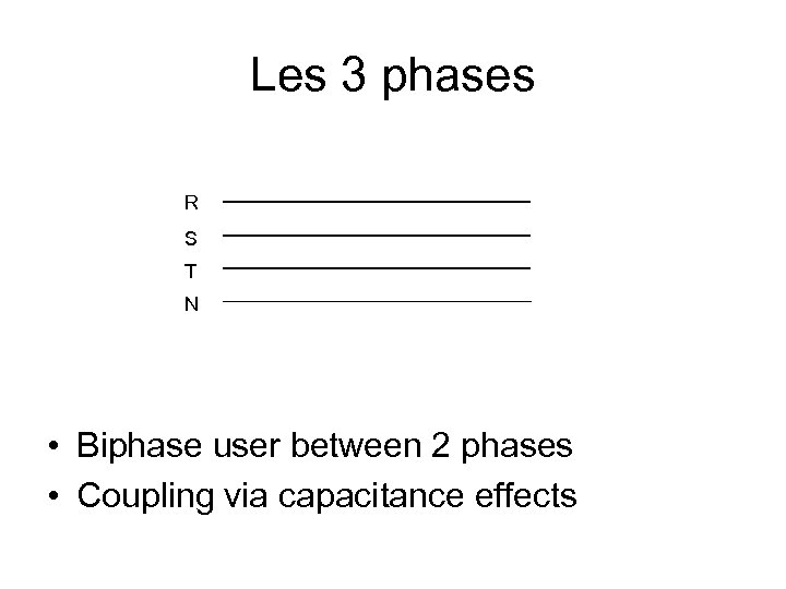Les 3 phases R S T N • Biphase user between 2 phases •