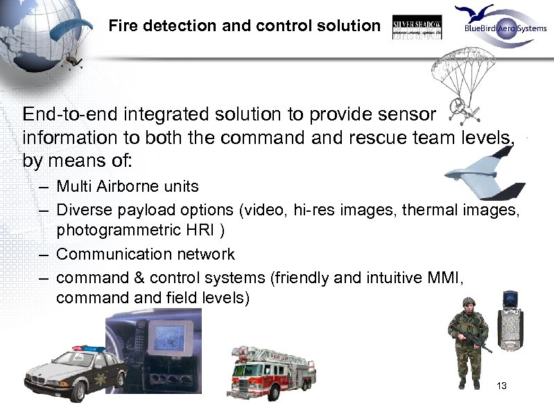 Fire detection and control solution End-to-end integrated solution to provide sensor information to both