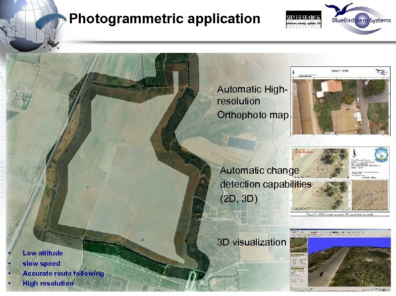 Photogrammetric application Automatic Highresolution Orthophoto map Automatic change detection capabilities (2 D, 3 D)