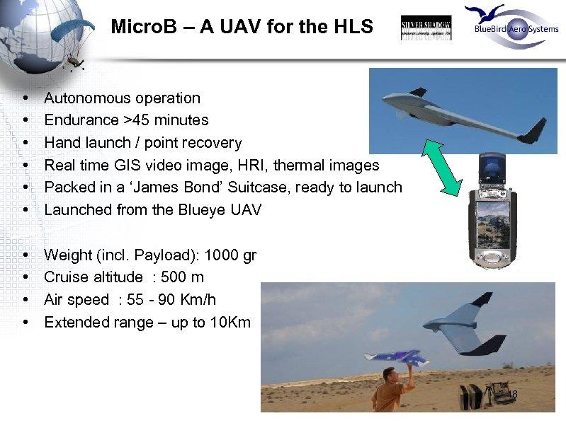 Micro. B – A UAV for the HLS • • • Autonomous operation Endurance