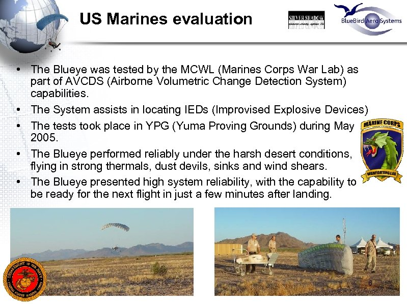 US Marines evaluation • The Blueye was tested by the MCWL (Marines Corps War
