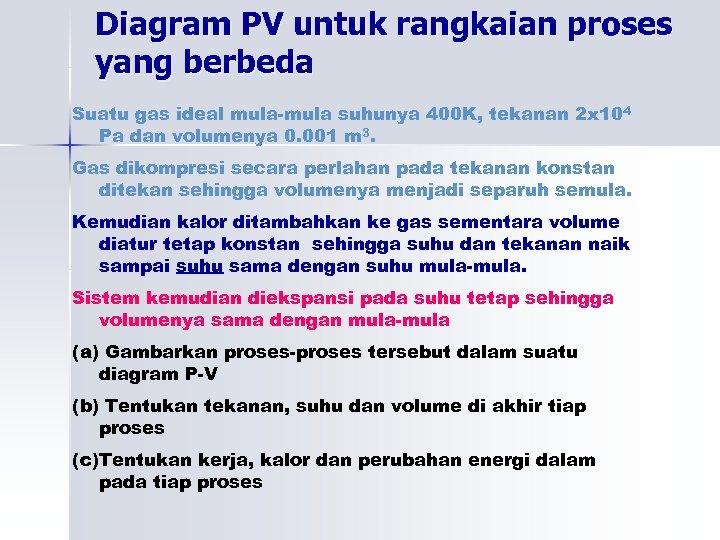 Diagram PV untuk rangkaian proses yang berbeda Suatu gas ideal mula-mula suhunya 400 K,