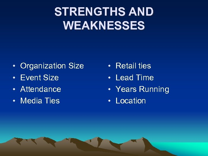 STRENGTHS AND WEAKNESSES • • Organization Size Event Size Attendance Media Ties • •
