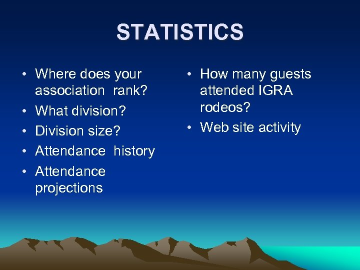 STATISTICS • Where does your association rank? • What division? • Division size? •