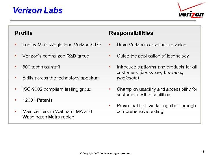 Verizon Labs Profile Responsibilities • Led by Mark Wegleitner, Verizon CTO • Drive Verizon's