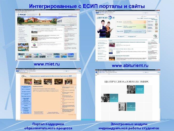 Интегрированные с ЕСИП порталы и сайты www. miet. ru Портал поддержки образовательного процесса www.