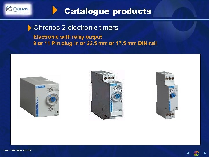 Catalogue products Chronos 2 electronic timers Electronic with relay output 8 or 11 Pin