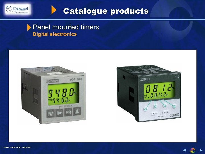 Catalogue products Panel mounted timers Digital electronics Timers - PAGE 13/20 - 18/03/2018