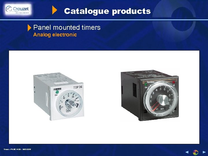 Catalogue products Panel mounted timers Analog electronic Timers - PAGE 14/20 - 18/03/2018