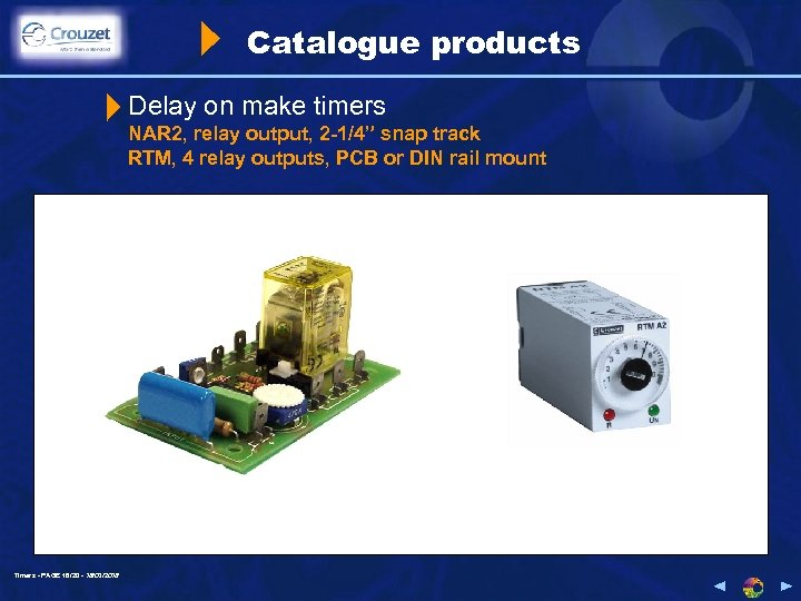 """Catalogue products Delay on make timers NAR 2, relay output, 2 -1/4"""" snap track"""