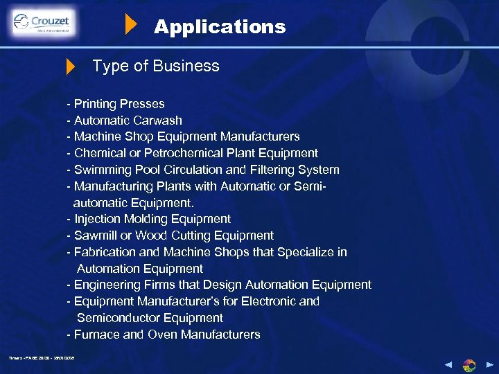 Applications Type of Business - Printing Presses - Automatic Carwash - Machine Shop Equipment