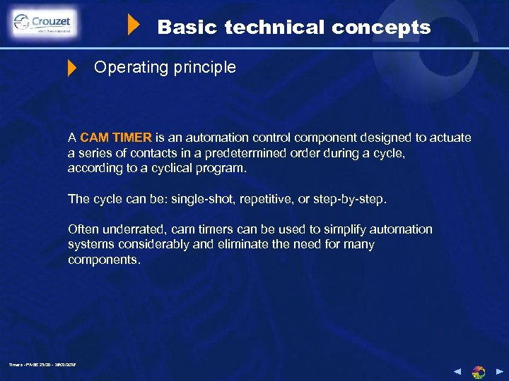 Basic technical concepts Operating principle A CAM TIMER is an automation control component designed