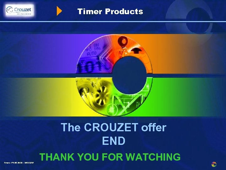 Timer Products The CROUZET offer END Timers - PAGE 28/20 - 18/03/2018 THANK YOU