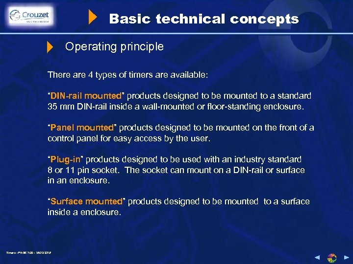 """Basic technical concepts Operating principle There are 4 types of timers are available: """"DIN-rail"""