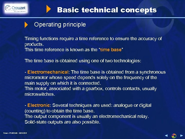 Basic technical concepts Operating principle Timing functions require a time reference to ensure the