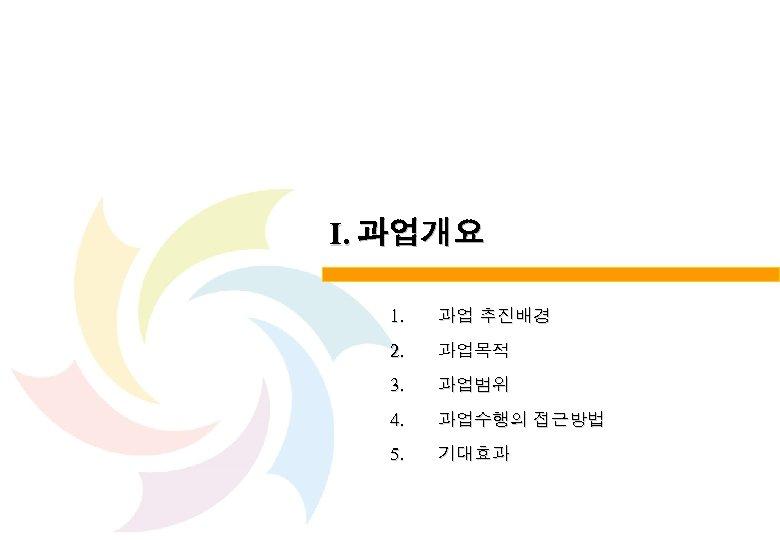 Ⅰ. 과업개요 1. 과업 추진배경 2. 과업목적 3. 과업범위 4. 과업수행의 접근방법 5. 기대효과