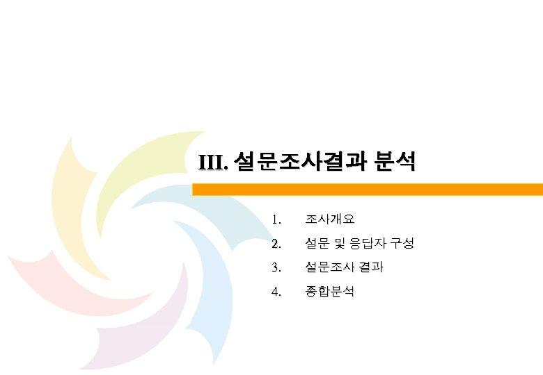 Ⅲ. 설문조사결과 분석 1. 조사개요 2. 설문 및 응답자 구성 3. 설문조사 결과 4.