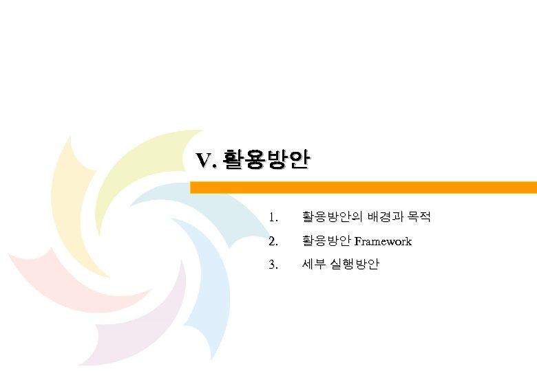 Ⅴ. 활용방안 1. 활용방안의 배경과 목적 2. 활용방안 Framework 3. 세부 실행방안