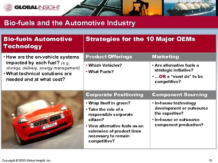 Bio-fuels and the Automotive Industry Bio-fuels Automotive Technology Strategies for the 10 Major OEMs