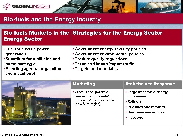 Bio-fuels and the Energy Industry Bio-fuels Markets in the Strategies for the Energy Sector