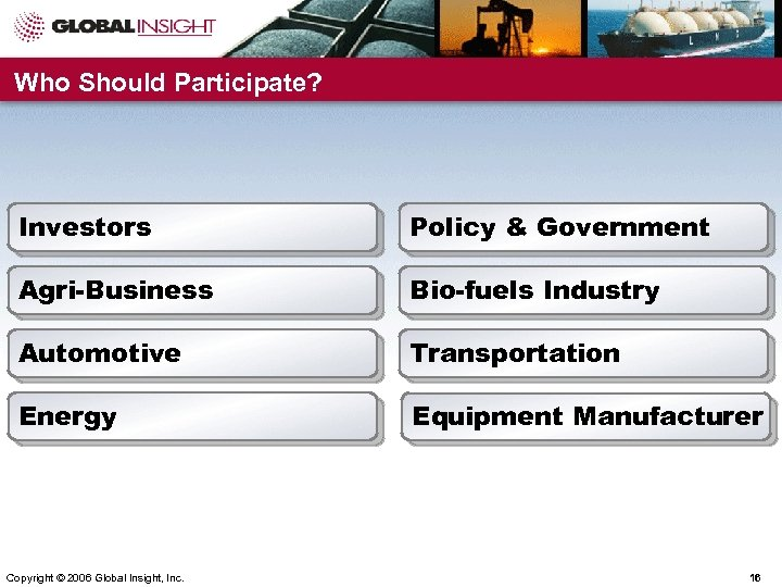 Who Should Participate? Investors Policy & Government Agri-Business Bio-fuels Industry Automotive Transportation Energy Equipment