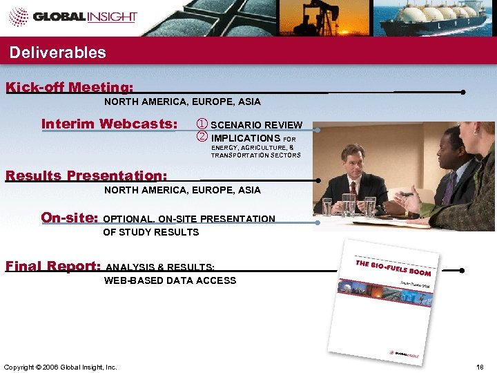 Deliverables Kick-off Meeting: NORTH AMERICA, EUROPE, ASIA Interim Webcasts: SCENARIO REVIEW IMPLICATIONS FOR ENERGY,