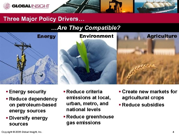 Three Major Policy Drivers… …Are They Compatible? Energy § Energy security § Reduce dependency