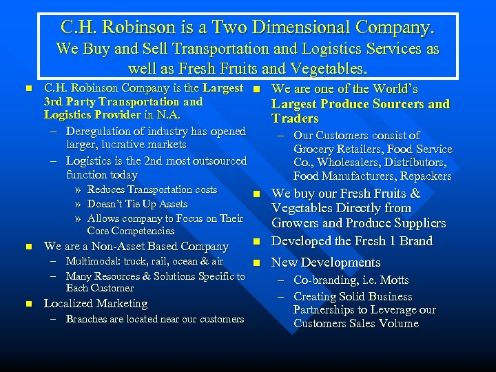 C. H. Robinson is a Two Dimensional Company. We Buy and Sell Transportation and
