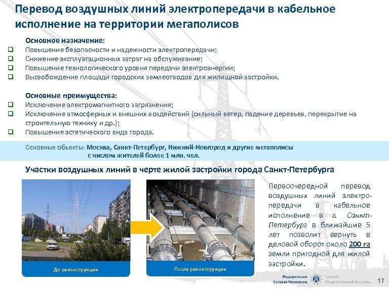 Перевод воздушных линий электропередачи в кабельное исполнение на территории мегаполисов Основное назначение: q q