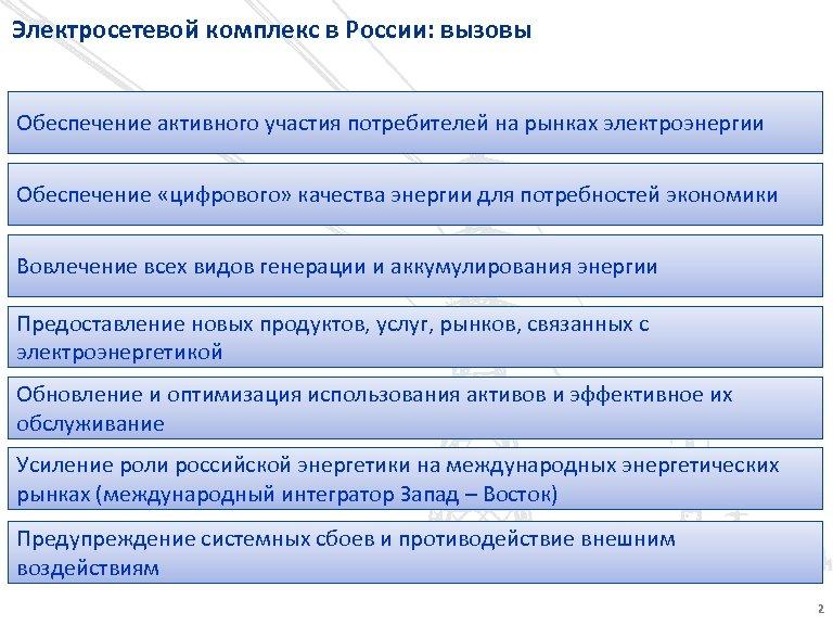 Электросетевой комплекс в России: вызовы Обеспечение активного участия потребителей на рынках электроэнергии Обеспечение «цифрового»