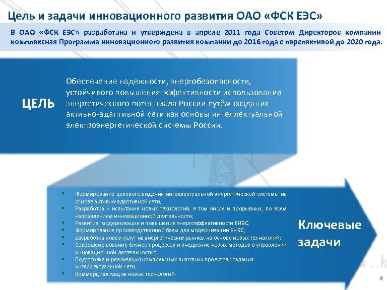 Цель и задачи инновационного развития ОАО «ФСК ЕЭС» В ОАО «ФСК ЕЭС» разработана и