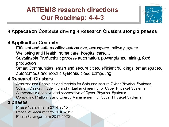 ARTEMIS research directions Our Roadmap: 4 -4 -3 4 Application Contexts driving 4 Research