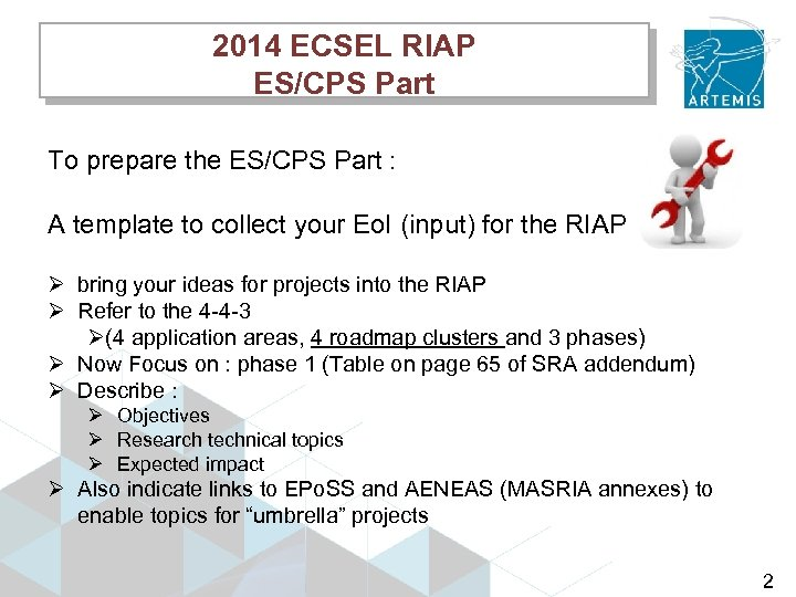 2014 ECSEL RIAP ES/CPS Part To prepare the ES/CPS Part : A template to