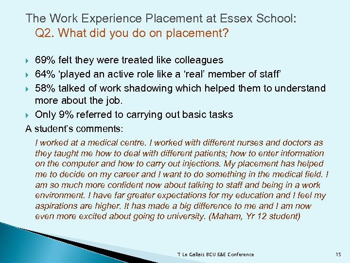 The Work Experience Placement at Essex School: Q 2. What did you do on
