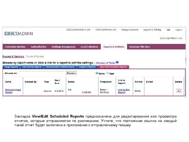 Закладка View/Edit Scheduled Reports предназначена для редактирования или просмотра отчетов, которые отправляются по расписанию.