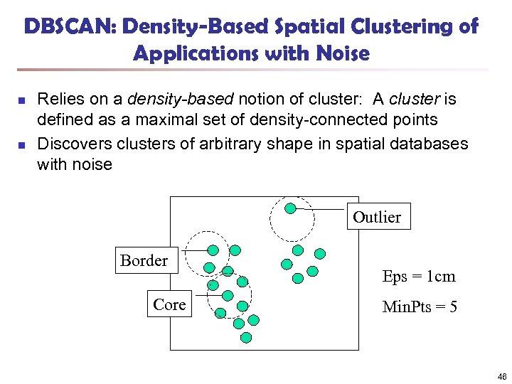 DBSCAN: Density-Based Spatial Clustering of Applications with Noise n n Relies on a density-based