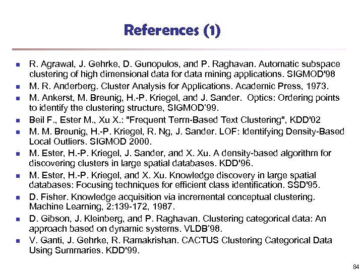 References (1) n n n n n R. Agrawal, J. Gehrke, D. Gunopulos, and