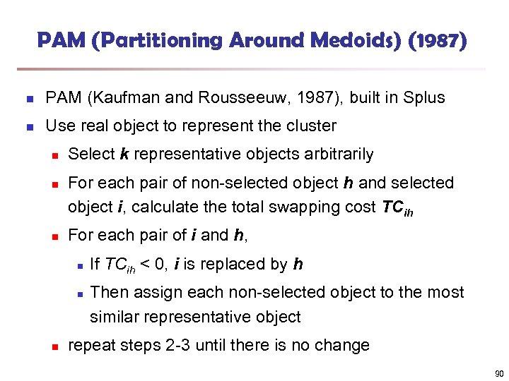 PAM (Partitioning Around Medoids) (1987) n PAM (Kaufman and Rousseeuw, 1987), built in Splus