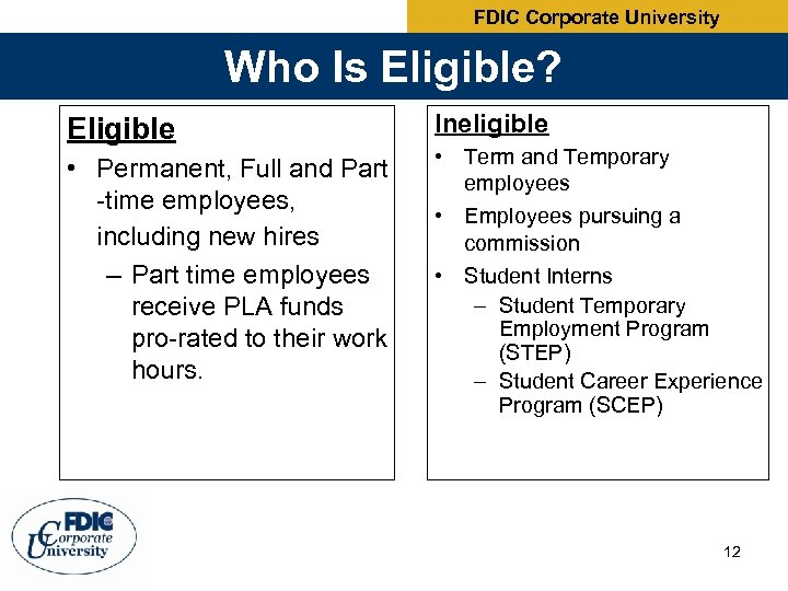 FDIC Corporate University Who Is Eligible? Eligible • Permanent, Full and Part -time employees,