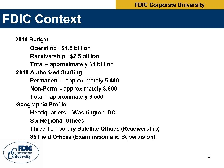 FDIC Corporate University FDIC Context 2010 Budget Operating - $1. 5 billion Receivership -