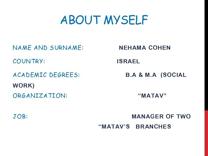 ABOUT MYSELF NAME AND SURNAME: COUNTRY: ACADEMIC DEGREES: NEHAMA COHEN ISRAEL B. A &