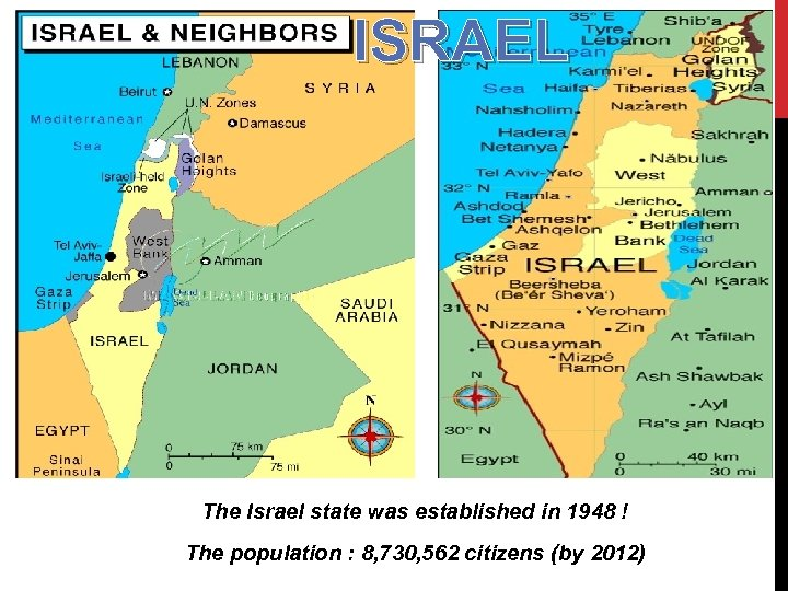 ISRAEL The Israel state was established in 1948 ! The population : 8, 730,