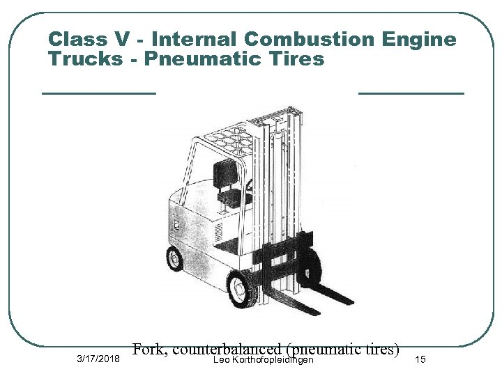 Class V - Internal Combustion Engine Trucks - Pneumatic Tires 3/17/2018 Fork, counterbalanced (pneumatic
