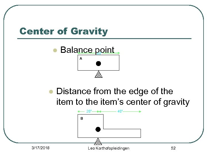 "Center of Gravity l Balance point 48"" A l Distance from the edge of"