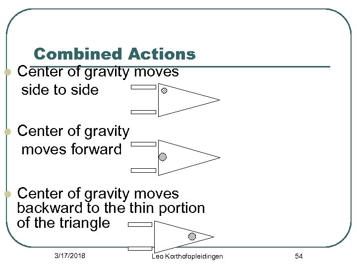 Combined Actions l Center of gravity moves side to side l Center of gravity