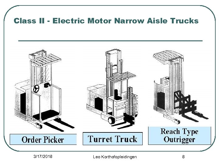 Class II - Electric Motor Narrow Aisle Trucks 3/17/2018 Leo Korthofopleidingen 8