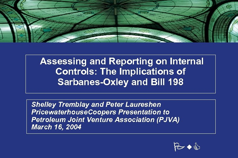 Assessing and Reporting on Internal Controls: The Implications of Sarbanes-Oxley and Bill 198 •