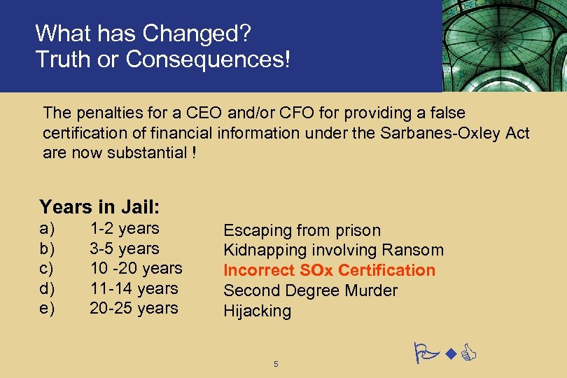 What has Changed? Truth or Consequences! The penalties for a CEO and/or CFO for